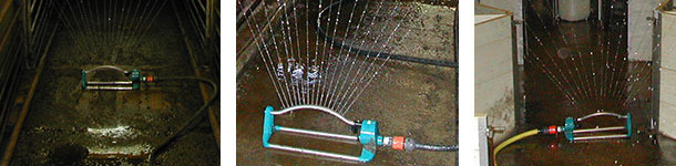 Uso de aspersores en la limpieza en granjas