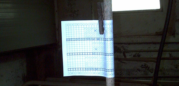 Control de la alimentación a mano con tabla enrollada en el tubo de agua