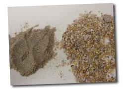 Dos tamaños de partícula en un pienso en harina.