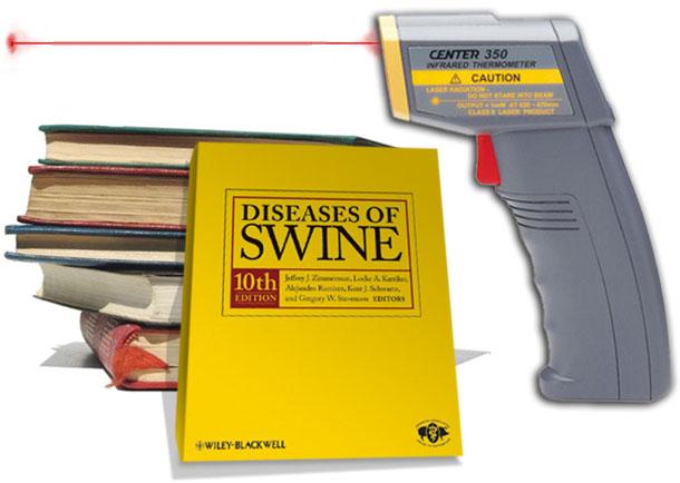 Termómetro digital y Diseases of Swine