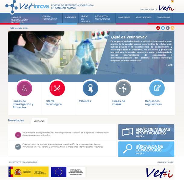 La web www.vetinnova.es desarrollada por la Plataforma Vet+i ya está operativa