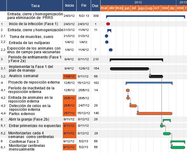 Ejemplo de cronograma para la eliminación del PRRS mediante LCH