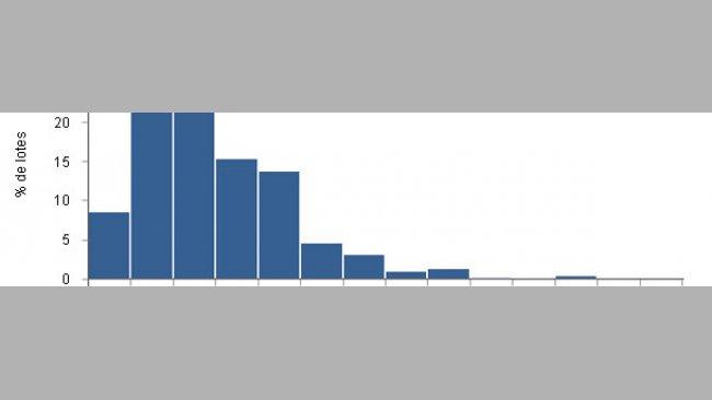 Distribución del número de cerdos alojados por lote de crecimiento y engorde