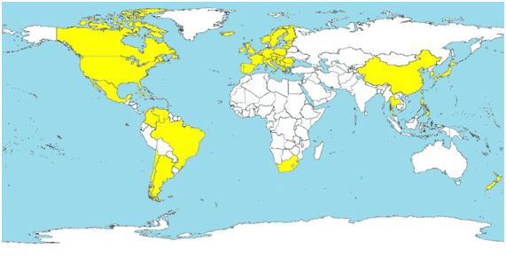 Países en los que se ha diagnosticado ES-PCV2 (en amarillo).