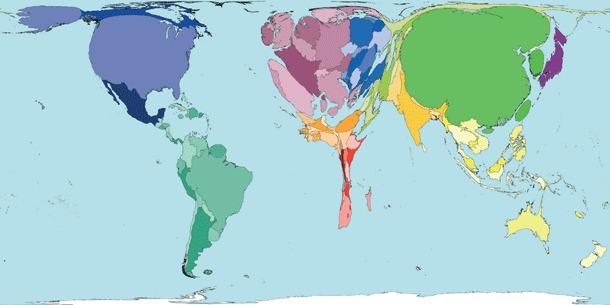 Proporción de producción de carne por países.