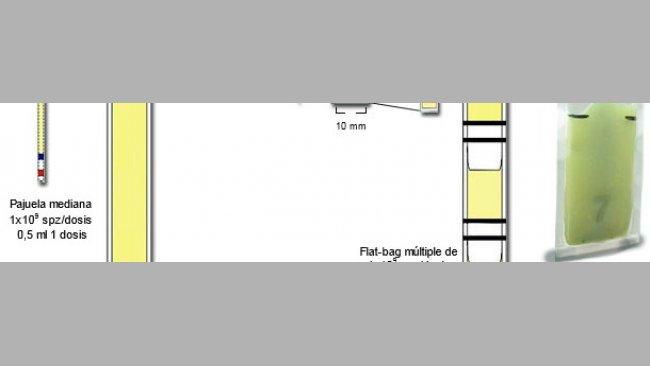 Representación esquemática de las principales diferencias entre las mini-pajuelas plásticas de 0,25 ml, con Flat-bags simples (5 ml) y múltiples  (de 0,5-0,7 ml)