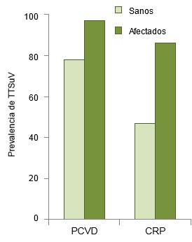 Prevalencia de TTSuVs en cerdos sanos y en afectados por PCVD y CRPTTSuV prevalence