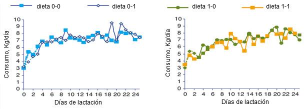 Evolución del consumo medio diario de las cerdas según el lote en el momento de la transición alimentaria (