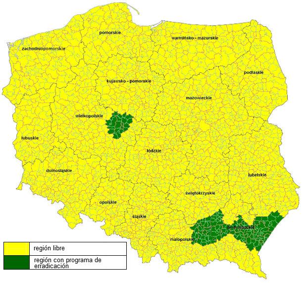 Mapa de regiones reconocidas como indemnes al virus de la enfermedad de Aujeszky en cerdos - a partir de marzo de 2014