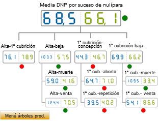 comparativa del año 2012 de los DNP por suceso de nulípara. Media de base de datos (azul) vs media de la explotación analizada (verde)