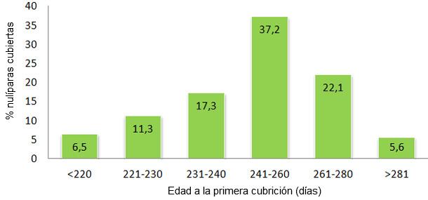 Edad a la primera cubrición en 2012