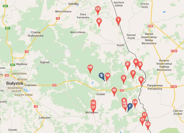 Casos de PPA en jabalís y cerdos desde febrero a octubre de 2014 que han tenido lugar en municipios adyacentes a la frontera entre Polonia y Bielorrusia.