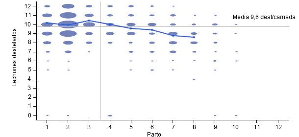 Número de destetados por parto en los 6 meses anteriores