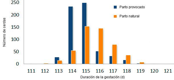 Comparativa de la duración de la gestación entre parto provocado a los 114 días y parto natural