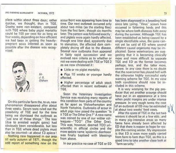 """En 1971, un veterinario (Oldham) escribió en un diario británico """"Pig farming supplement"""", un breve artículo titulado """"cómo empezó todo""""."""