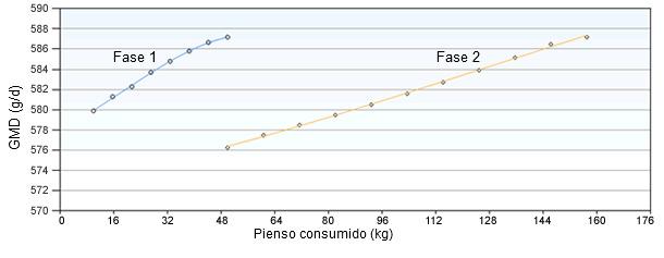 Consumo de pienso de las fases 1 y 2 optimizando por crecimiento