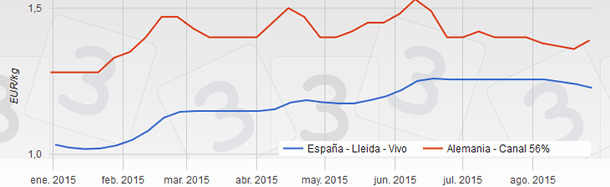 Precios del cerdo en España y Alemania desde enero a agosto de 2015