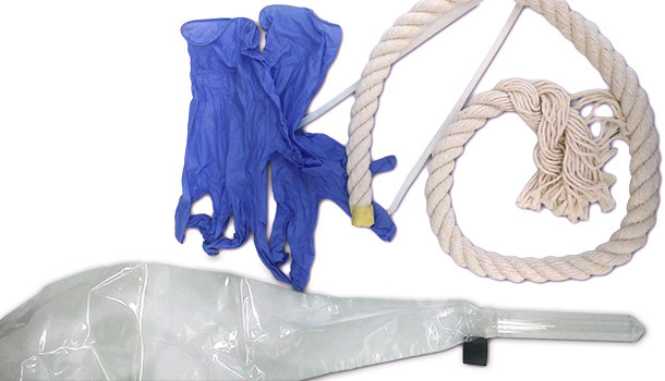 Content of collection kits disposable gloves, rope and tube connected with plastic bag