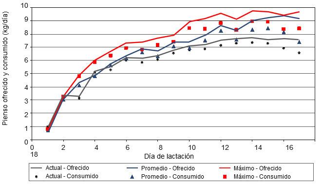 Comparación entre pienso ofrecido y pienso consumido diariamente para diferentes curvas de alimentación