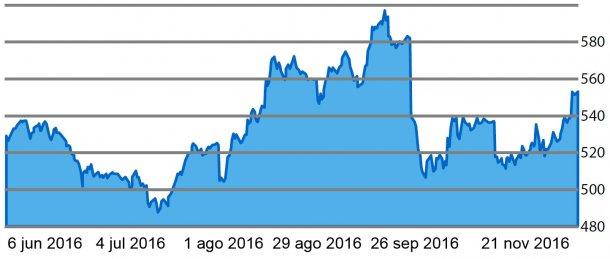 Gráfico 5. Evolución de la cotización del aceite de palma  en los últimos 6 meses.