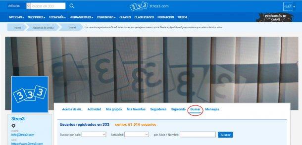 Desde tu zona de usuario puedes buscar a otros usurios, filtrando por nombre/alias, actividadd y país.