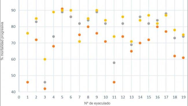 Figura 3. Motilidad progresiva (%) analizada mediante sistemas computarizados usando 3 tamaños de muestra de semen.