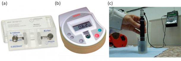Figura 1. Aparatos de medida de concentración espermática. (a) Hematocitómetro: Cámara de Bürker para el contaje de células de manera manual. (b) Colorímetro: medición electrónica mediante cálculo de absorbancia. (c) Medida de concentración espermática directamente en semen diluido.