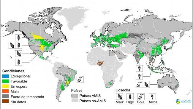Figura 2. Condiciones de las cosechas en países AMIS (a 28 de marzo). Fuente GEOGLAM