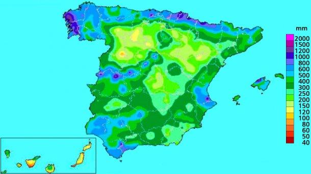 Imagen 4: Precipitación acumulada en el año hidrológico. Fuente: AEMET