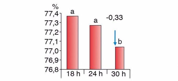 Figura 2. Diferencias en el rendimiento de canal según diferentes tiempos de ayuno (Chevillon et al. 2006)
