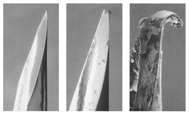 Figura 1: Fotos de agujas hipodérmicas que demuestra como sevuelven romas y se astillan.