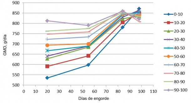 Figura 7. Evolución de la GMD en función del peso de entrada (cada 10%). Al final del engorde todos acaban teniendo una GMD similar, aunque los grandes llegan al máximo mucho antes, por lo que tienen menos días de estancia.