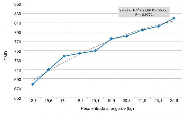 Figura 6. GMD en los 100 primeros días de engorde en función del peso de entrada. Las diferencias de peso a la entrada del engorde se ensanchan (se multiplican por 2). Cada kg de diferencia de peso a la entrada equivale, aproximadamente, a 11 g de GMD.