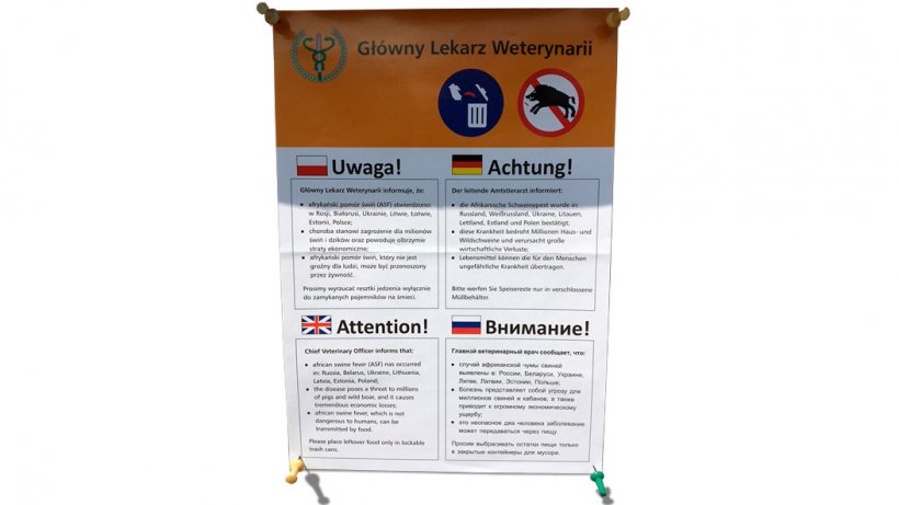 Mensaje en Polonia advirtiendo de la amenaza de los jabalís para la difusión de la PPA. La amenaza de que la PPA se siga extendiendo por el resto de Europa.