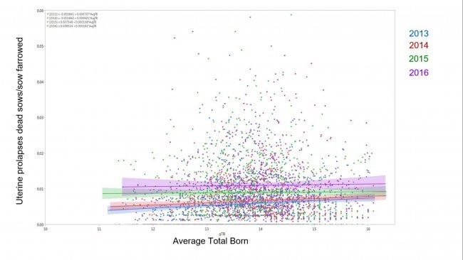 Figura 1. Resultados del modelo de porcentaje de cerdas muertas debido a prolapso uterino por el total de cerdas paridas por la media de nacidos totales a través de los años (Media ± 95%CI) 2014, 2015, 2016, y 2017