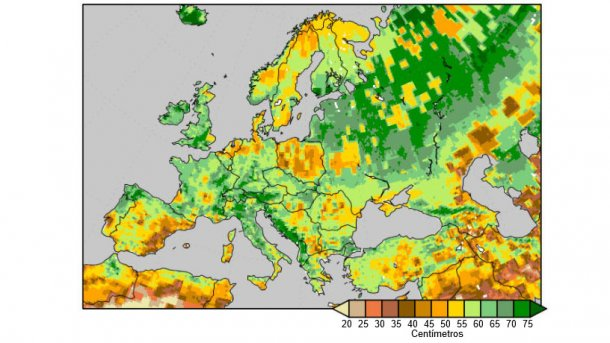 Gráfico 3. Humedad del suelo medida como la cantidad de agua (cm) en los 2 metros superficiales, a 9 de abril de 2018. Fuente: National Centers for Environmental Prediction.