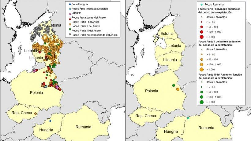 Mapa focos de PPA en jabalí (izquierda) y cerdo doméstico (cerdo doméstico) declarados en Estonia, Letonia, Lituania, Polonia, Rep. Checa y Rumanía en 2018 (hasta el 25/04/2018) (Fuente RASVE-ADNS)