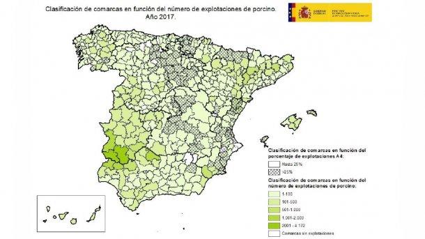 Clasificación de comarcas en función del número de explotaciones de porcino y del porcentaje de explotaciones A4.