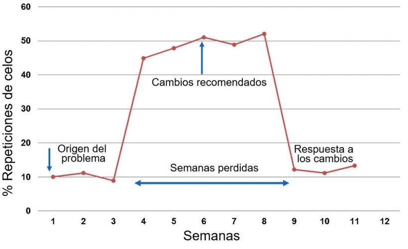 Gráfico 1. Respuesta reportada por semana de servicio o monta.
