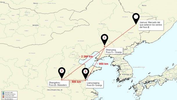 Mapa de situación de los focos de PPA en China