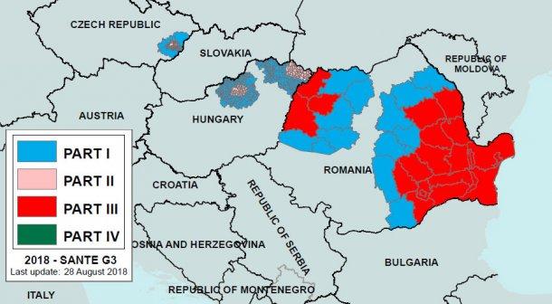 Imagen 2. Regionalización dela PPA en Rumanía y países colindantes a28 de agosto de 2018.Parte I: zona de alto riesgo pero no han habido focos. Parte III: zona con focos declarados. Fuente: Comisión Europea.