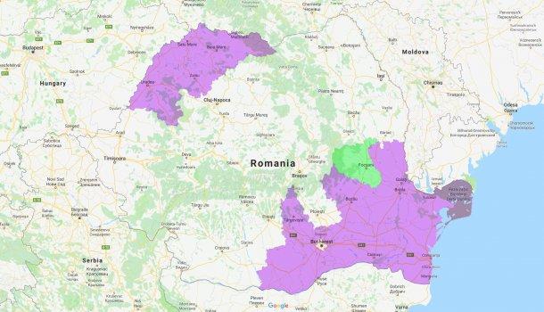 Condados afectados por PPA en Rumanía