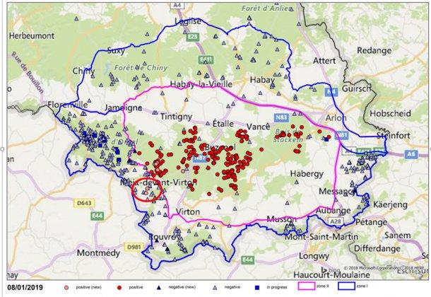 Ubicación de las muestras (negativas en azul y positivas en rojo) en jabalíes en el sur de Bélgica (los dos nuevos casos rodeados en rojo).