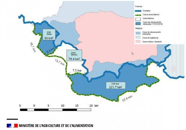Mapa de las zona blanca y zonas de observación reforzada para la PPA