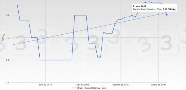 Gráfico 3. Evolución de las cotizaciones en los últimos 12 meses en la bolsa de Santa Catarina. Brasil.