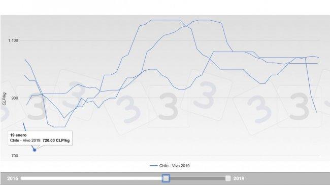 Gráfico 1. Evolución de las cotizaciones en los últimos 3 años en el mercado porcino chileno.