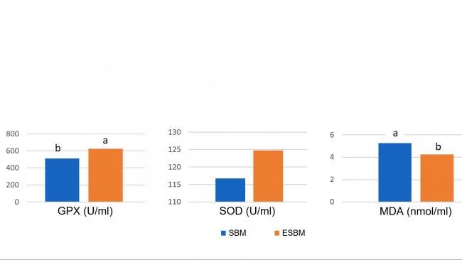 Gráfico 1: La alimentación con soja tratada enzimáticamente con un contenido bajo en antígeno de soja dio lugar a mayores concentrationes plasmáticas de enzimas antioxidantes y una reducción del malonil dialdehído (MDA), un marcador del daño oxidativo, el día 14 después del destete en comparación con una harina de soja con un elevado nivel de antígeno. (Ma et al., 2018)