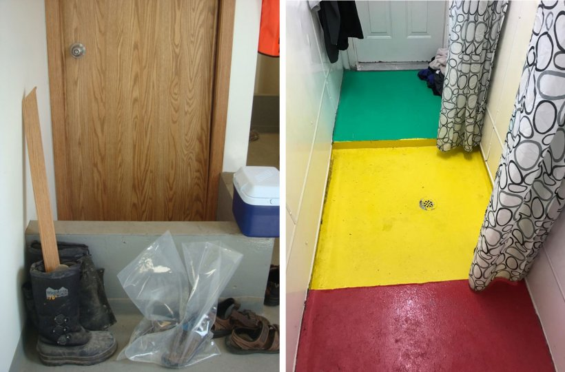 Izquierda: Separación de zonas dentro de la granja. El murete recuerda a los trabajadores el punto de cambio de zapatos obligado entre la entrada de la granja (sucio) y la zona de la ducha. Foto cortesía del Dr. Tim Snider. Derecha: Ejemplo de separación de zonas dentro de la zona de la ducha. Rojo = Zona sucia; Amarillo = Zona intermedia; Verde = Zona limpia. Foto cortesía de Mike Luyks, Kaslo Bay, centro de inseminación de PIC, Canadá.