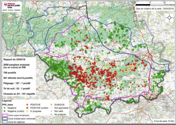 Mapa del límite de zonas y localización de los jabalíes afectados hasta 25 de marzo de 2019.