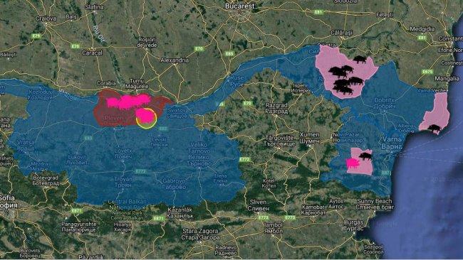 Focos de PPA en Bulgaria desde la primera aparición de la enfermedad en agosto de 2019. En doméstico (rosa) y jabalíes (negro).